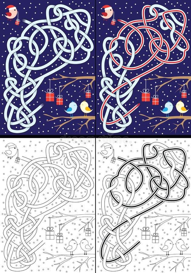 Laberinto de la Navidad ilustración del vector