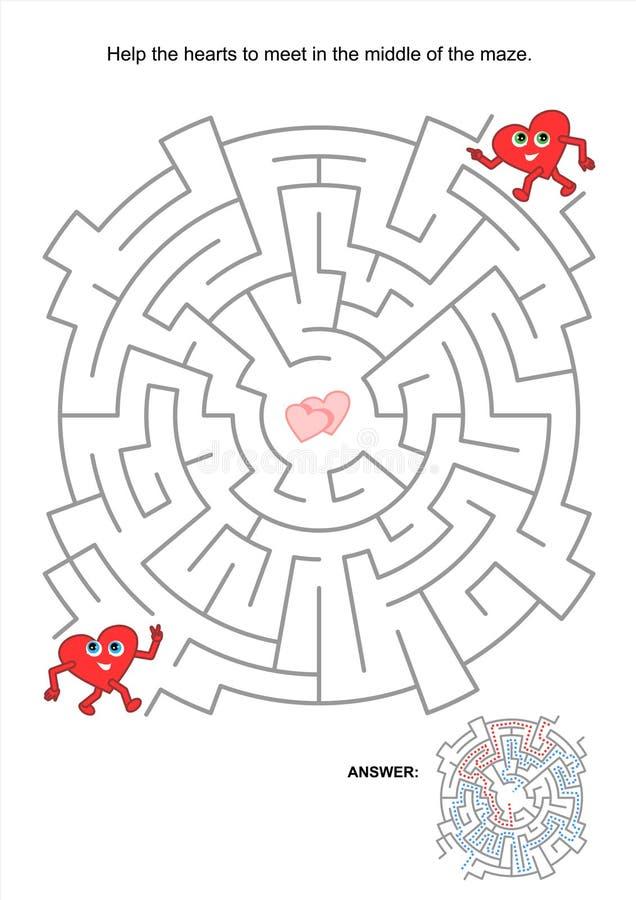 Laberinto De La Tarjeta Del Día De San Valentín Ilustración del ...