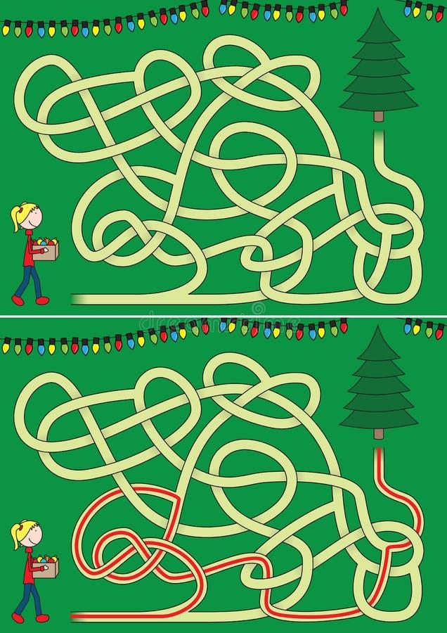 Laberinto del árbol de navidad stock de ilustración