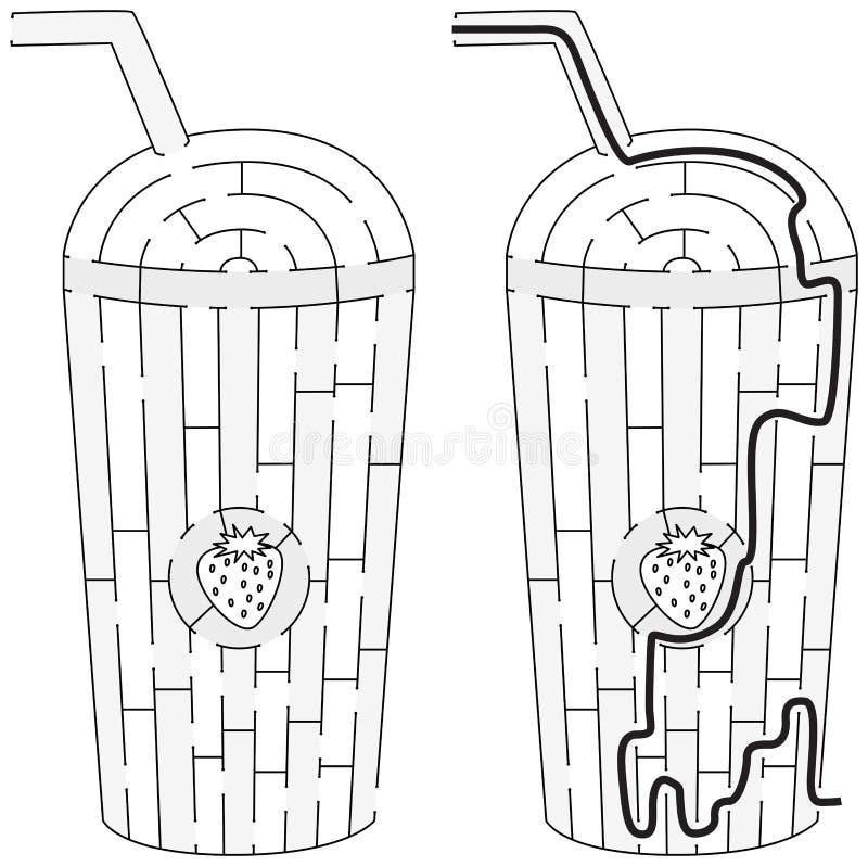 Laberinto del batido de leche de la fresa ilustración del vector