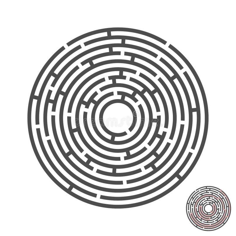 Laberinto del círculo del escape con la entrada y la salida rompecabezas del laberinto del juego del vector con la solución Numér fotografía de archivo