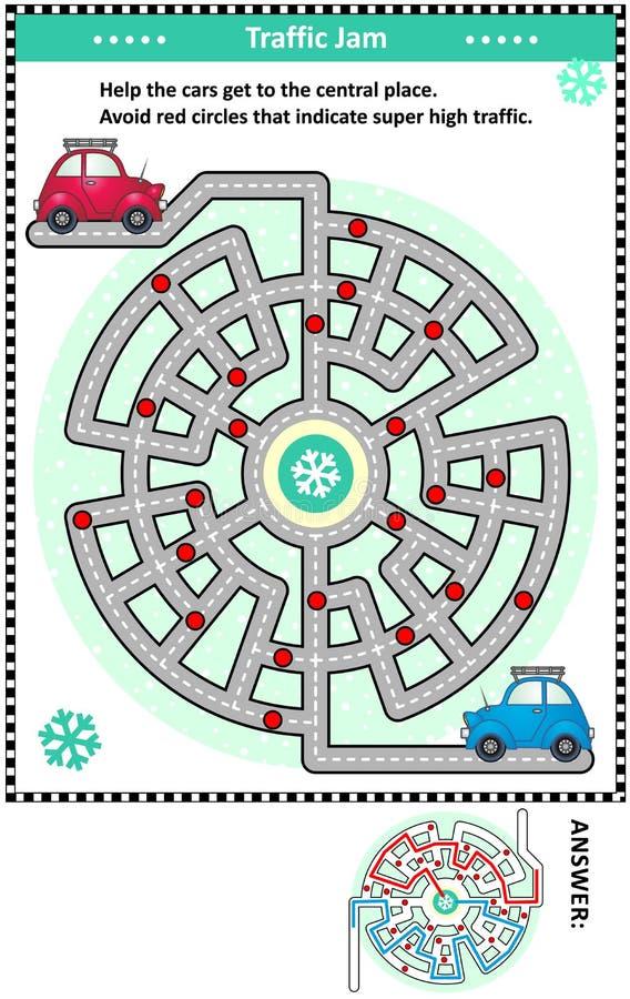 Laberinto del camino del atasco del invierno con dos coches ilustración del vector