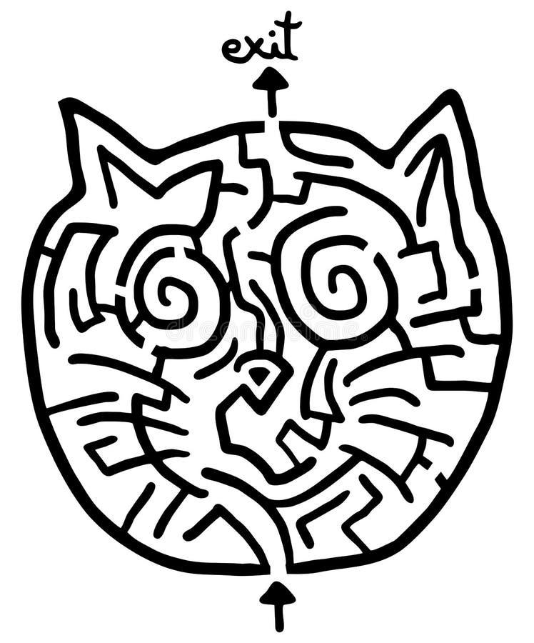 Laberinto del gato ilustración del vector