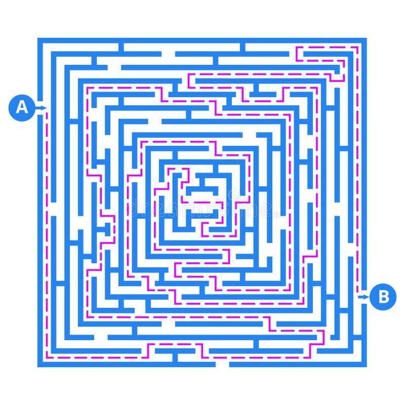 Laberinto del juego del cerebro Vector el laberinto con la entrada, la salida y la manera correcta de ir ilustración del vector