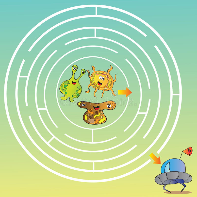 Laberinto del monstruo del UFO - ejemplo del vector libre illustration