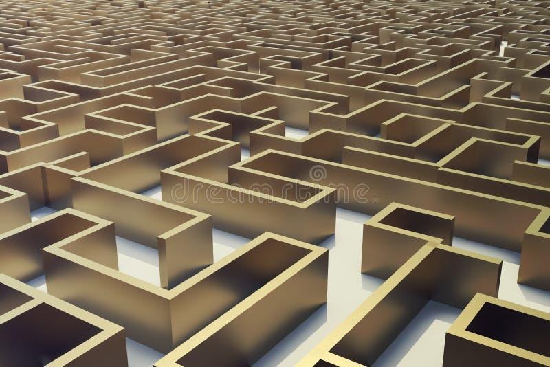 laberinto del oro del ejemplo 3d, concepto complejo de la solución de problemas stock de ilustración