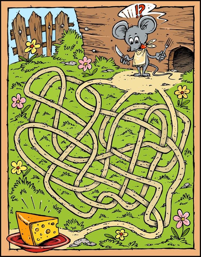 Laberinto del ratón y del queso stock de ilustración