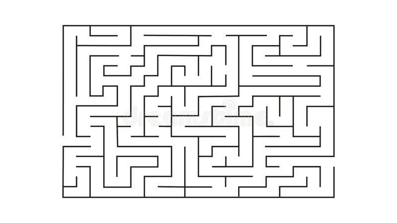 Laberinto del rectángulo con la entrada y la salida rompecabezas del laberinto del juego del vector con la solución stock de ilustración