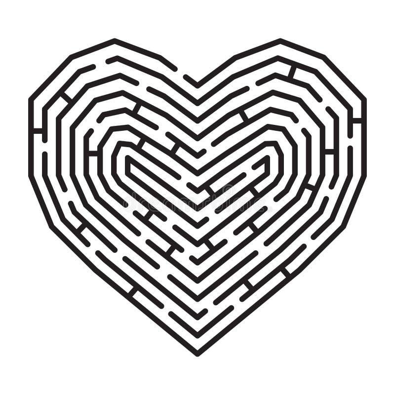 Laberinto en una forma del corazón stock de ilustración