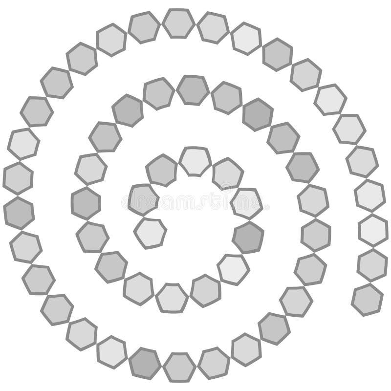 Laberinto espiral futurista abstracto, plantilla para los juegos del ` s de los niños, contorno gris del modelo de los hexágonos  libre illustration