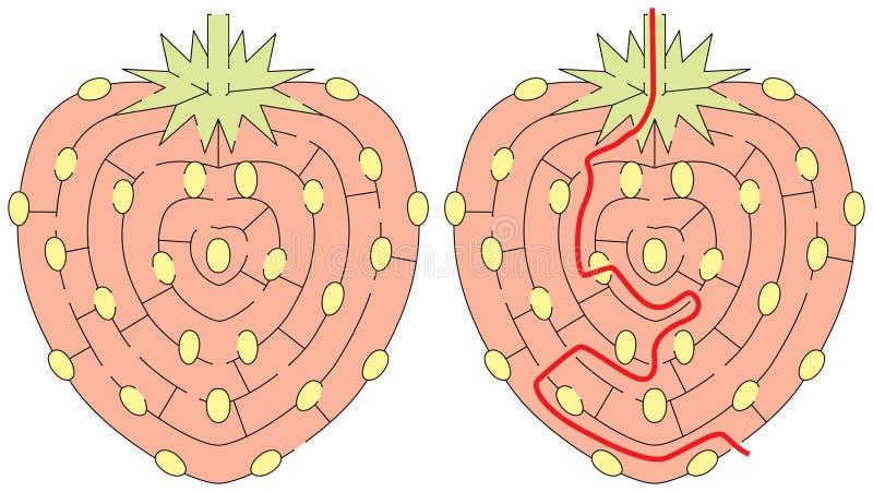 Laberinto fácil de la fresa ilustración del vector