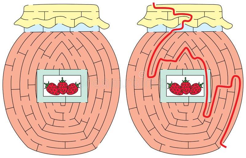 Laberinto fácil de la mermelada de fresa ilustración del vector