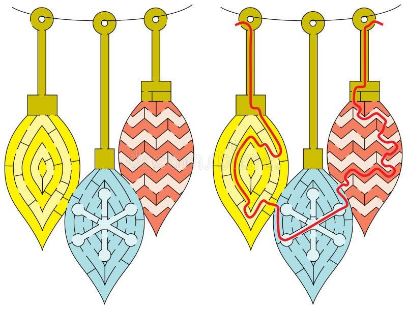 Laberinto fácil del ornamento de la Navidad ilustración del vector