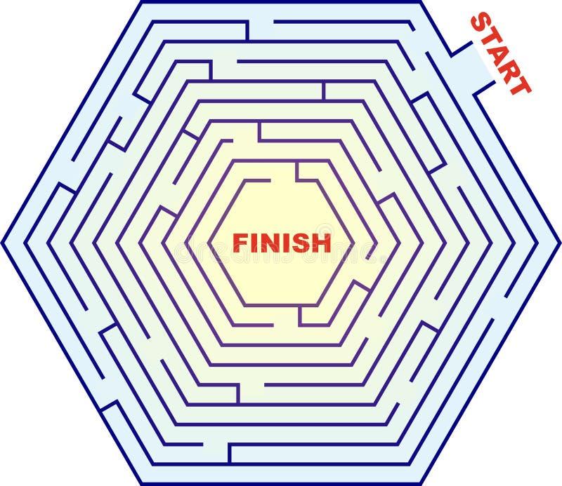 Laberinto hexagonal - laberinto ilustración del vector