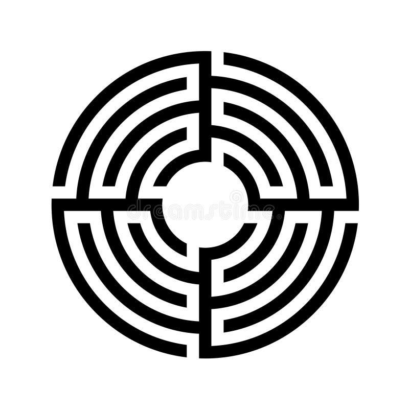 Laberinto, icono redondo del laberinto Diseño plano Vector común libre illustration