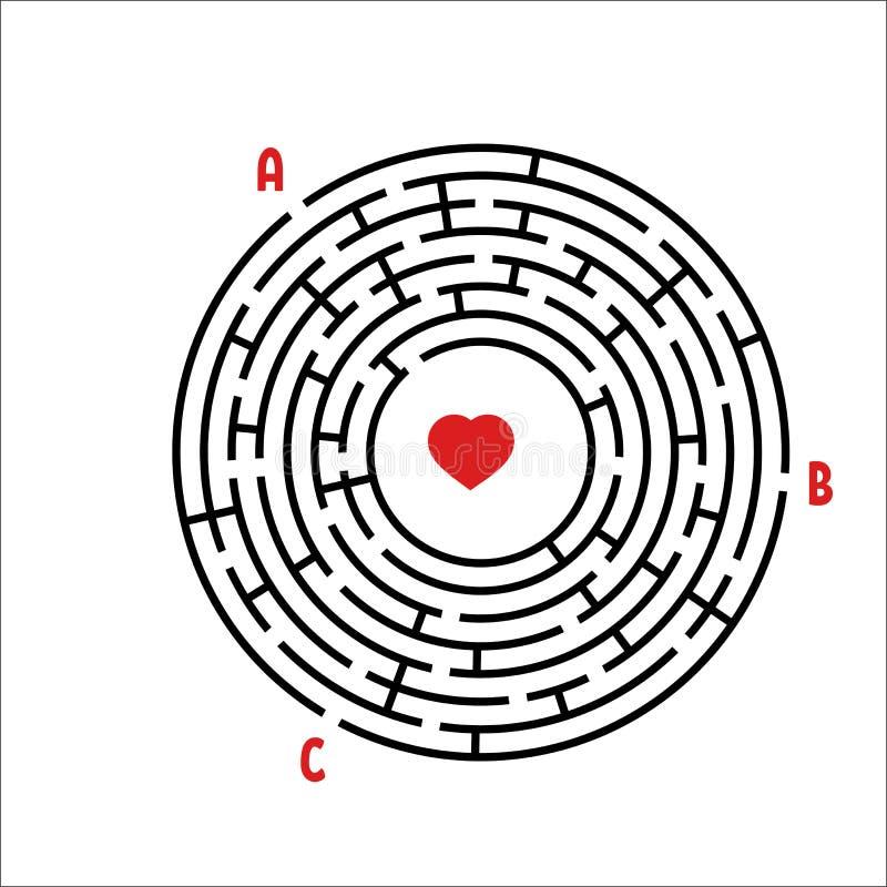 Laberinto redondo negro Juego para los cabritos Rompecabezas del ` s de los niños Muchas entradas, una salida Enigma del laberint stock de ilustración