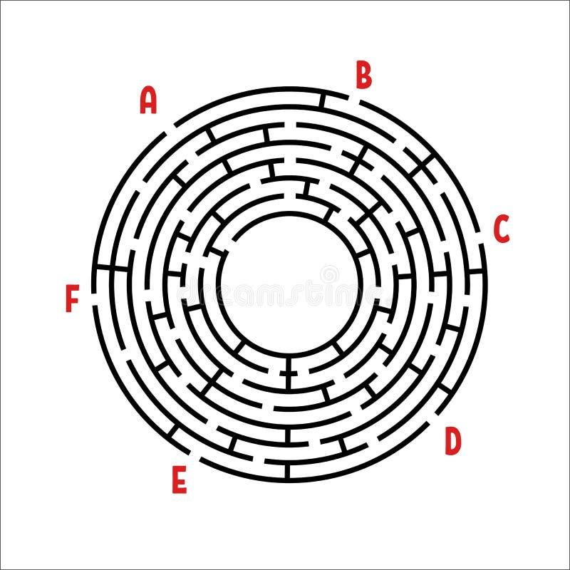 Laberinto redondo negro Juego para los cabritos Rompecabezas del ` s de los niños Muchas entradas, una salida Enigma del laberint ilustración del vector