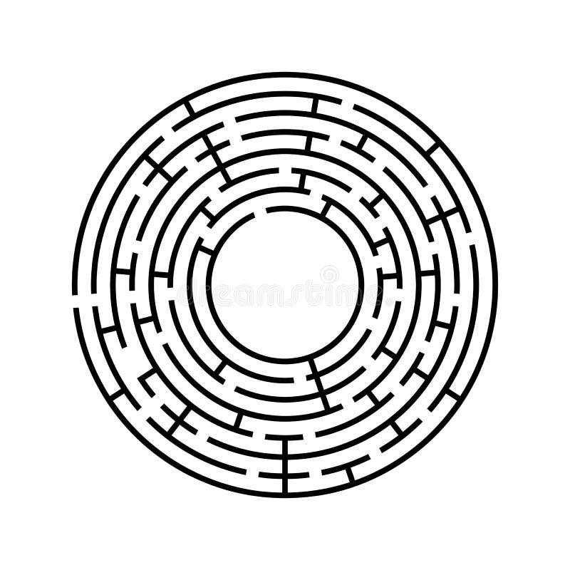 Laberinto redondo Un juego interesante y útil para los niños y los adultos Ejemplo plano simple del vector aislado en el backgro  libre illustration