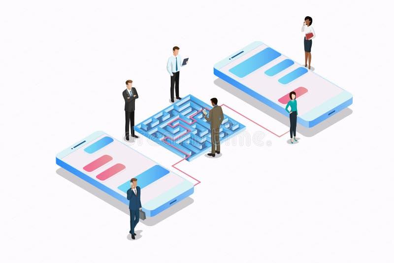 Laberinto y teléfonos isométricos del labirinth, gente isométrica y vector gráfico de conexión de los medios sociales del smartph ilustración del vector
