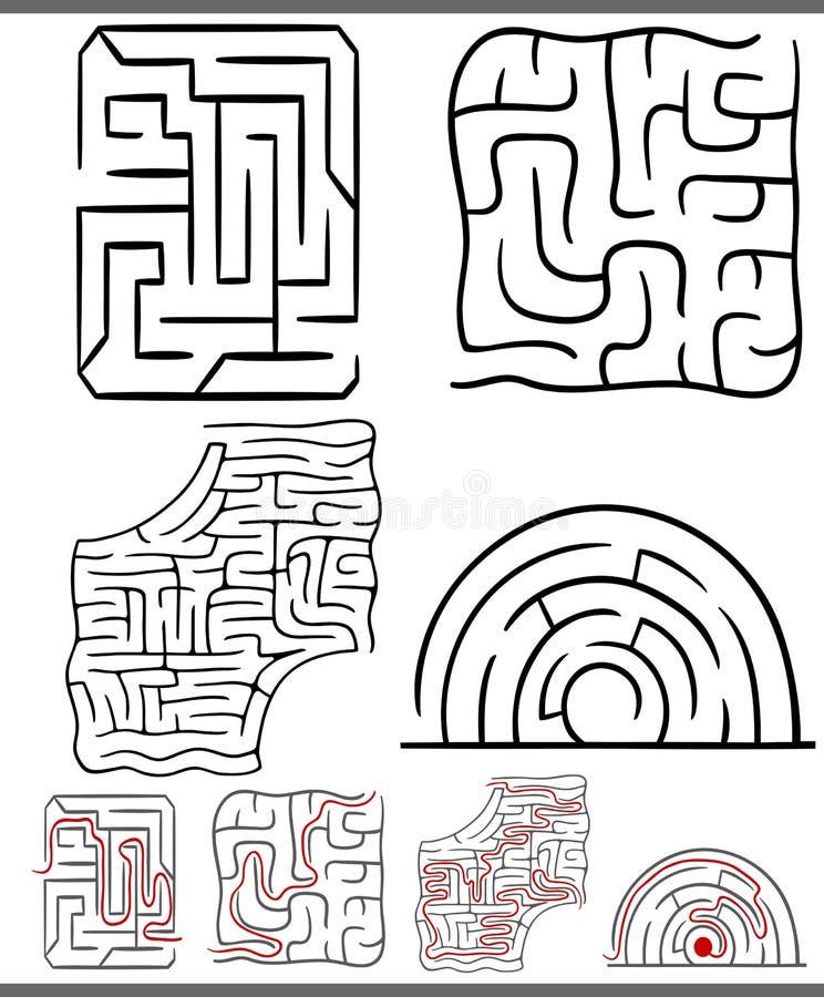 Laberintos o diagramas de los laberintos fijados ilustración del vector
