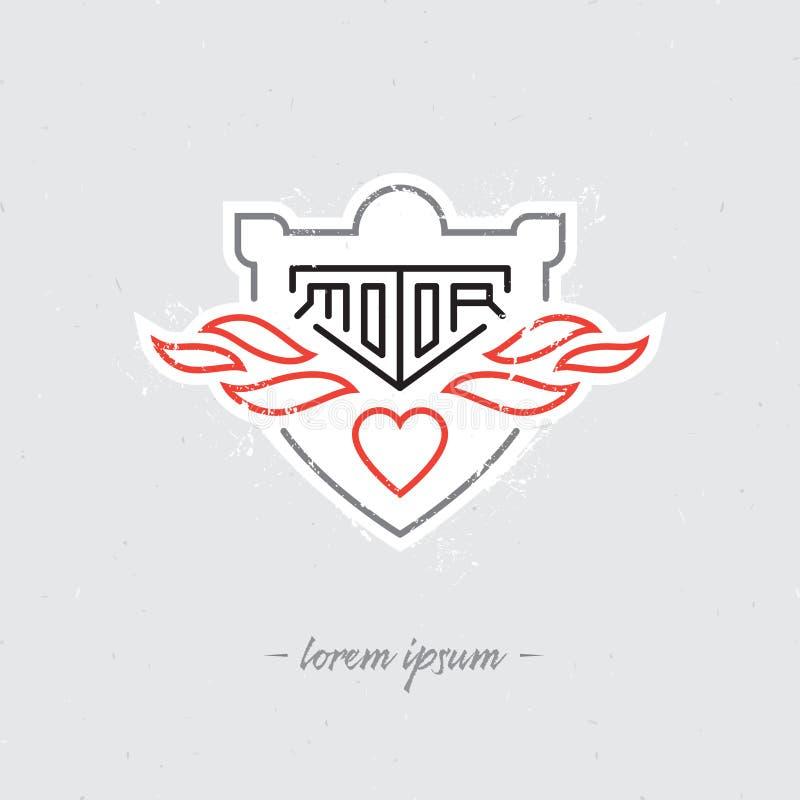 Labes de la motocicleta del vintage, insignia, escudo o elementos del diseño Vect stock de ilustración