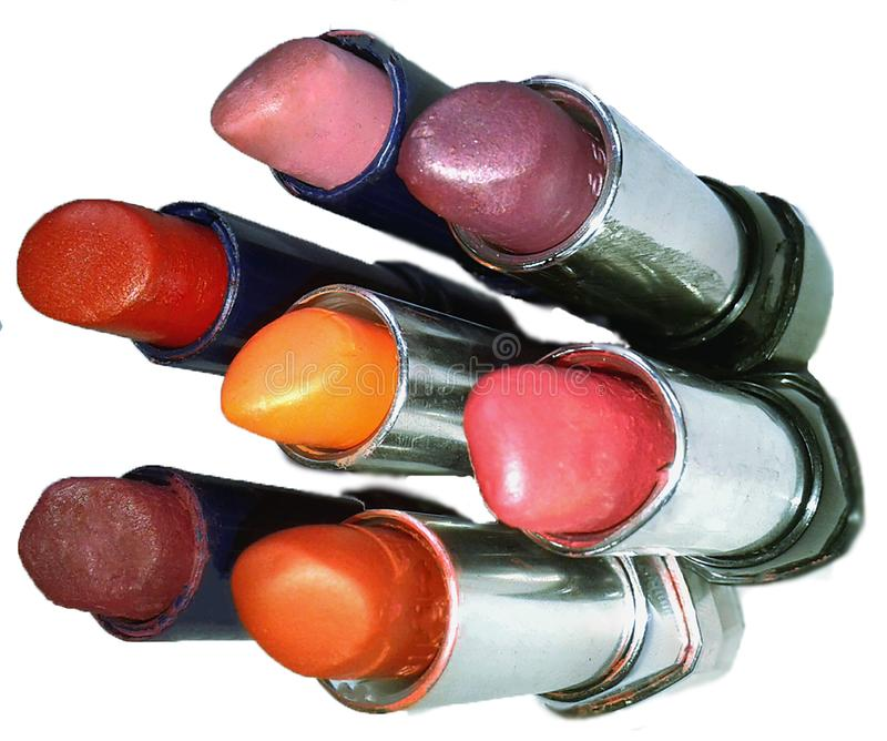 labiales muy coloridos y brillantes stock foto