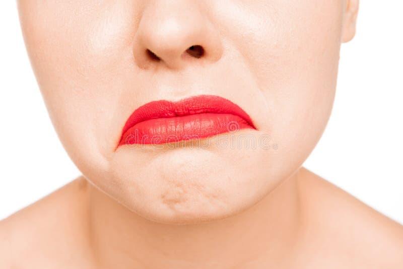 Labio rojo atractivo r fotografía de archivo