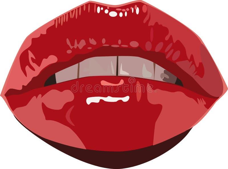 Labios Atractivos Que Ponen Mala Cara Mojados Rojos Imagenes de archivo