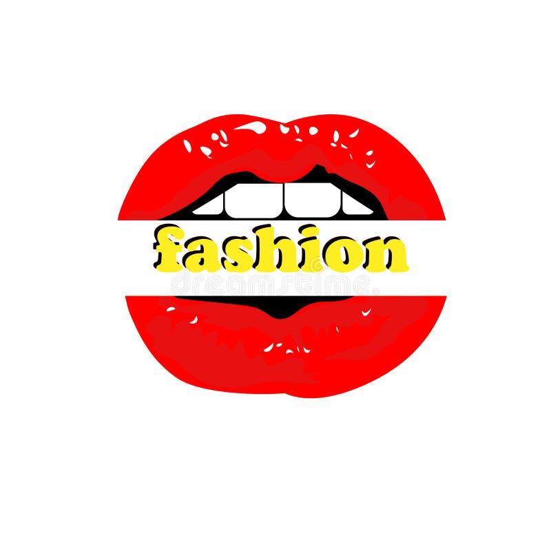 Labios atractivos rojos de la mujer de la web, estilo de la historieta, en blanco, común stock de ilustración