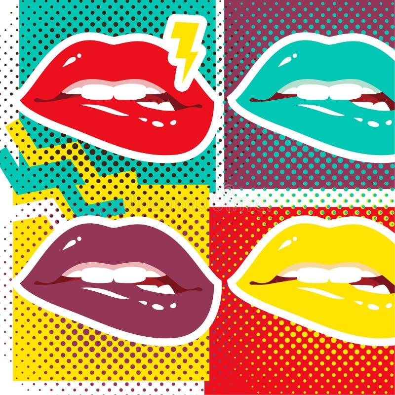 Labios del arte pop ilustración del vector