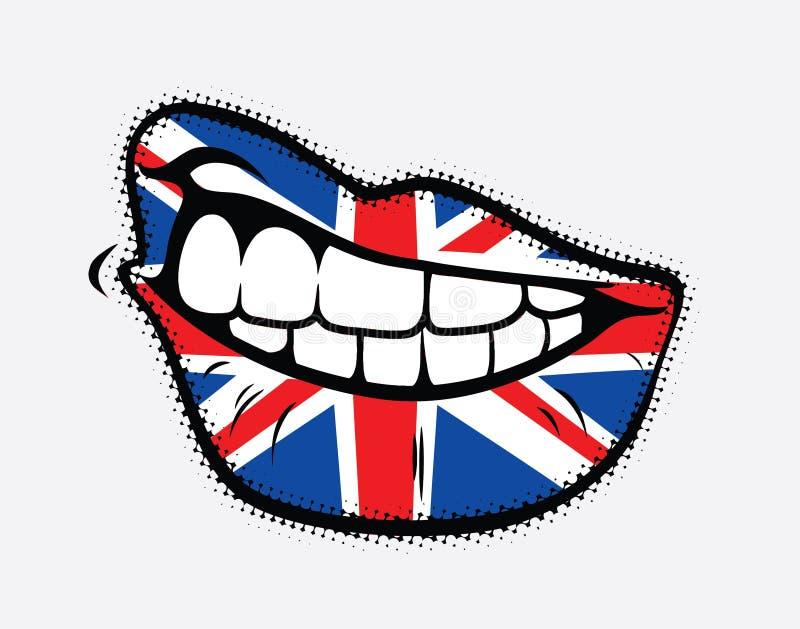 Labios encrespados con el indicador de Gran Bretaña libre illustration