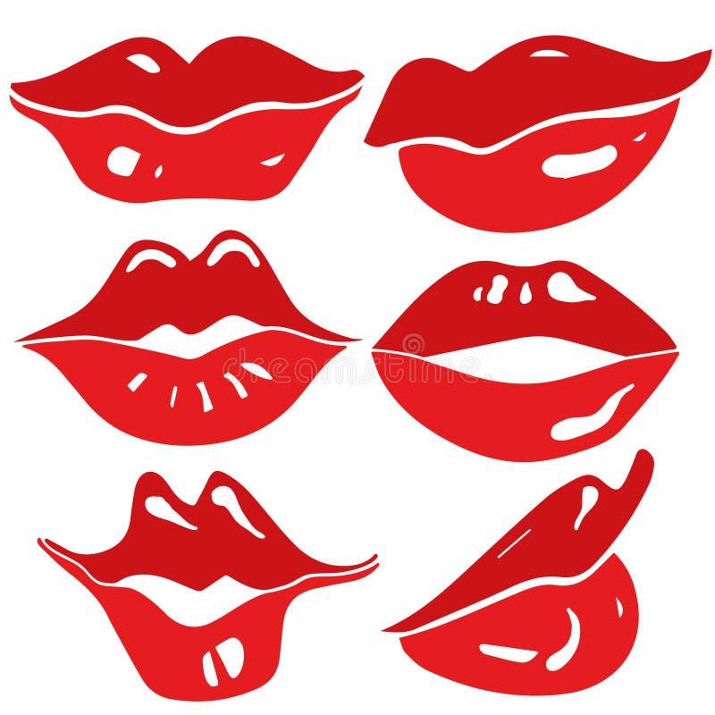 Labios femeninos atractivos fijados - vector ilustración del vector