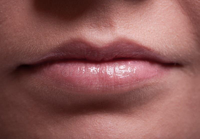 Labios femeninos brillantes del primer. Parte de la cara. Maquillaje y belleza. foto de archivo