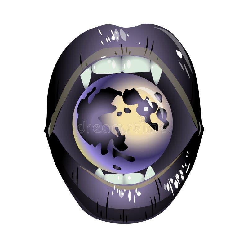 Labios grises del vampiro con una luna libre illustration
