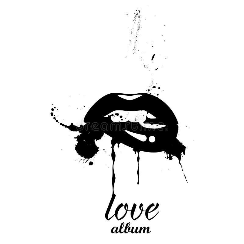 Labios negros con un espray en un fondo negro Cubierta para un álbum de la música Vector ilustración del vector