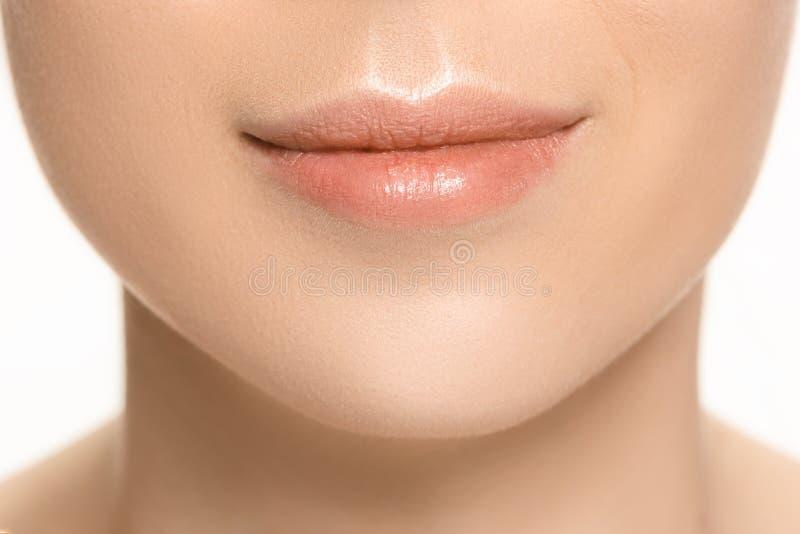 Labios perfectos Cierre atractivo de la boca de la muchacha para arriba Sonrisa de la mujer joven de la belleza Labio lleno regor fotos de archivo