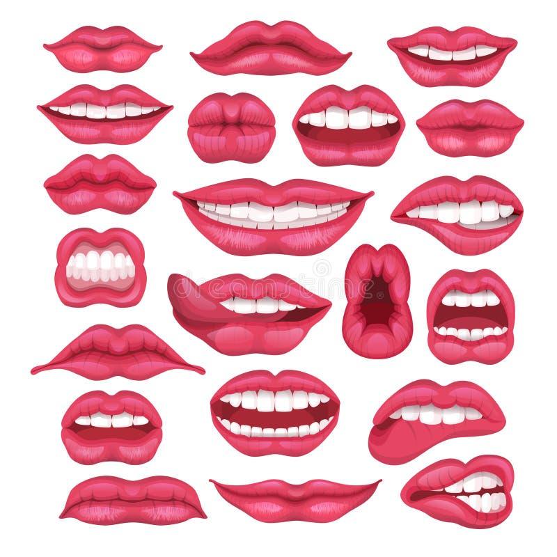 Labios rojos hermosos de la historieta del vector del labio en el lápiz labial del beso o de la sonrisa y de la moda y besarse at stock de ilustración
