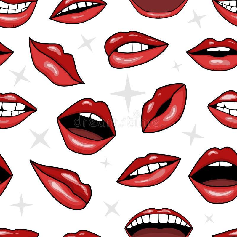 Labios rojos, sonrisa y boca con los dientes en estilo del tatuaje ilustración del vector