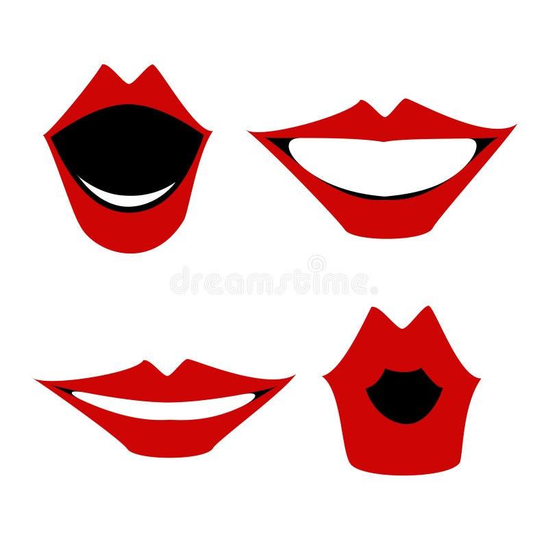 Labios rojos, un sistema de gestos, vector de la articulación ilustración del vector