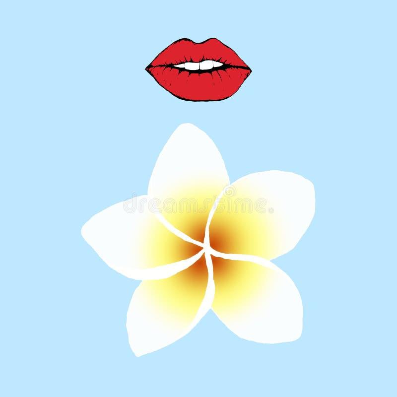 Labios rojos y pintura digital del frangipani o de la hoja del plumeria en fondo azul Postal del ejemplo de la moda stock de ilustración