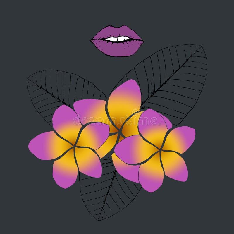Labios y frangipani o plumeria púrpura, pintura digital de las hojas de palma en fondo oscuro stock de ilustración