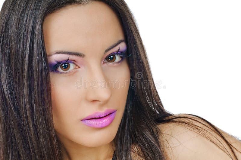 Labios y párpados violetas fotografía de archivo