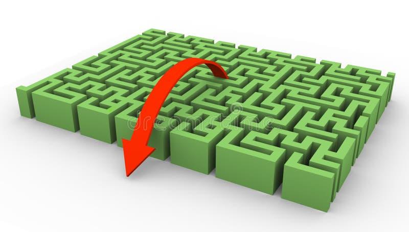 labirinto 3d e seta ilustração stock