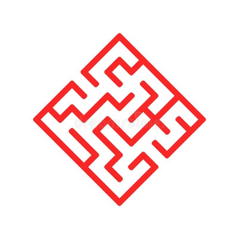 Labirinto abstrato da cor sob a forma de um diamante Jogo para miúdos Enigma para crianças Uma entrada, uma saída Enigma do labir ilustração royalty free