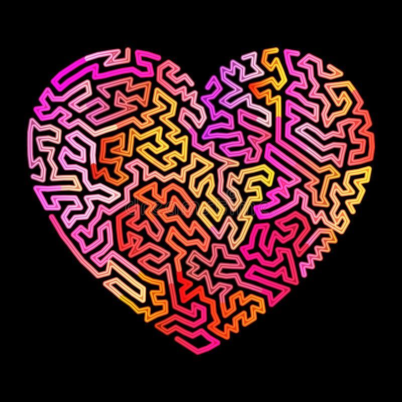 Labirinto al neon del cuore fotografia stock