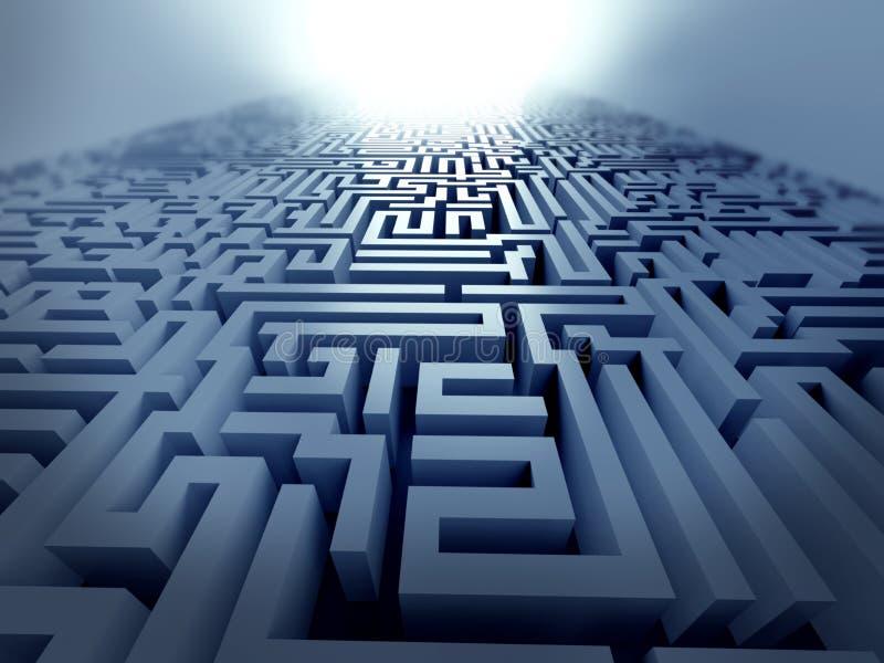 Labirinto azul, conceito complexo da resolução de problemas ilustração stock