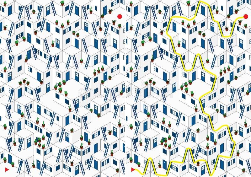 Labirinto blu del villaggio illustrazione di stock