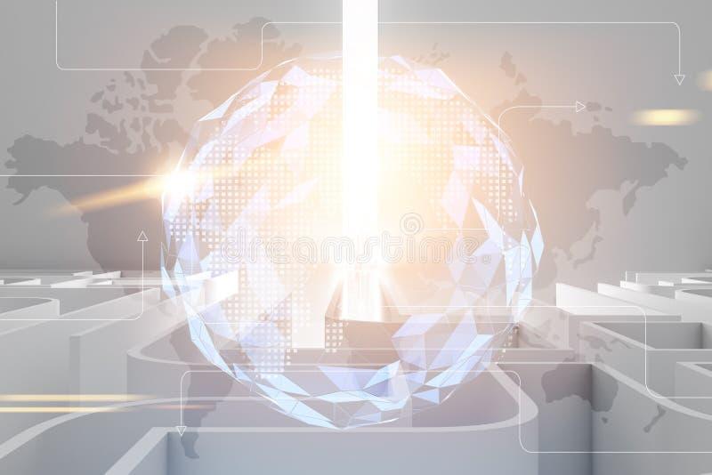 Labirinto branco com um raio de luz, holograma do mapa do mundo ilustração royalty free