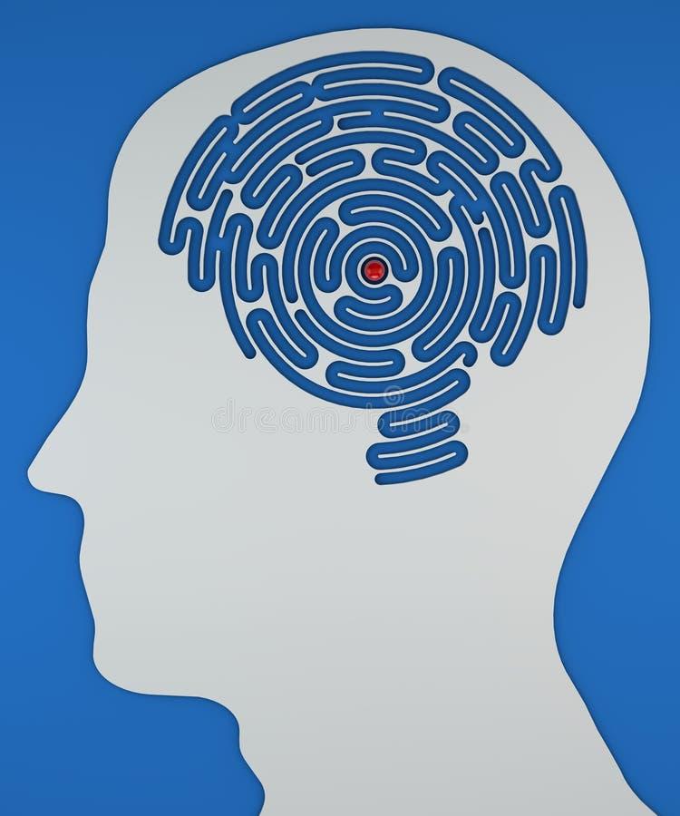 labirinto Cérebro-dado forma dentro da cabeça de um perfil ilustração do vetor