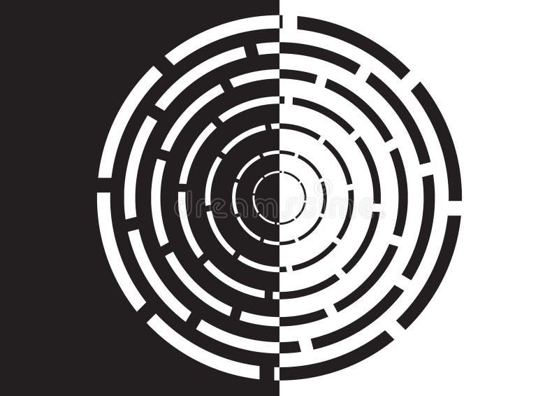 Labirinto circular preto e branco ilustração stock